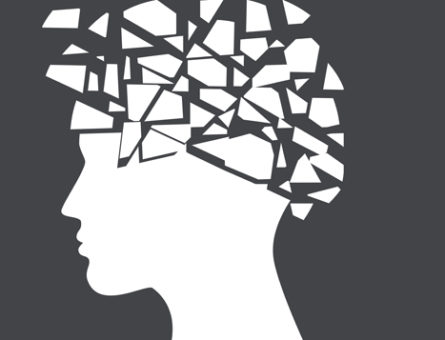 Epilepsy, headache concept with face silhouette shattered, vector illustration.